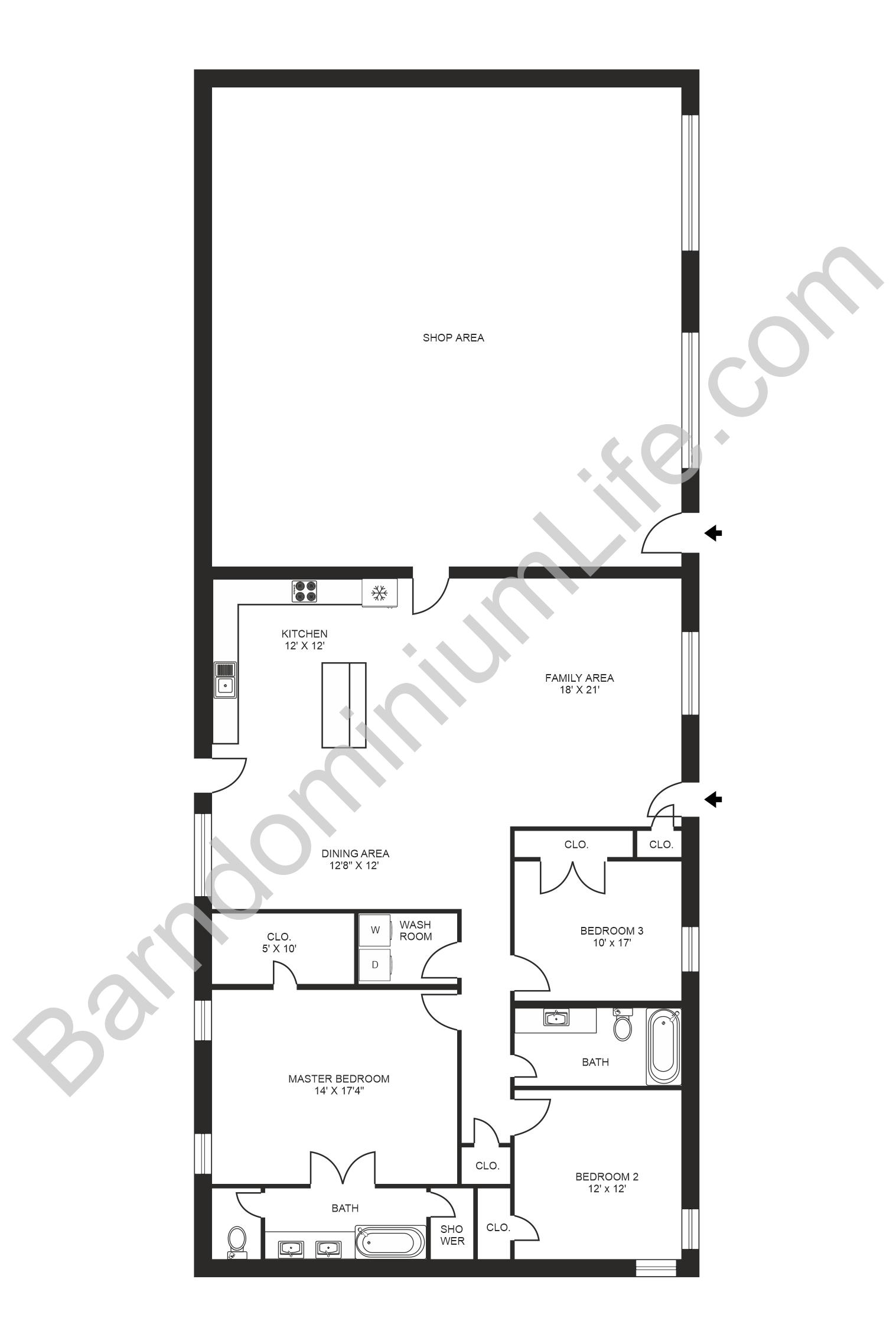 35x65 barndominium floor plan with shop