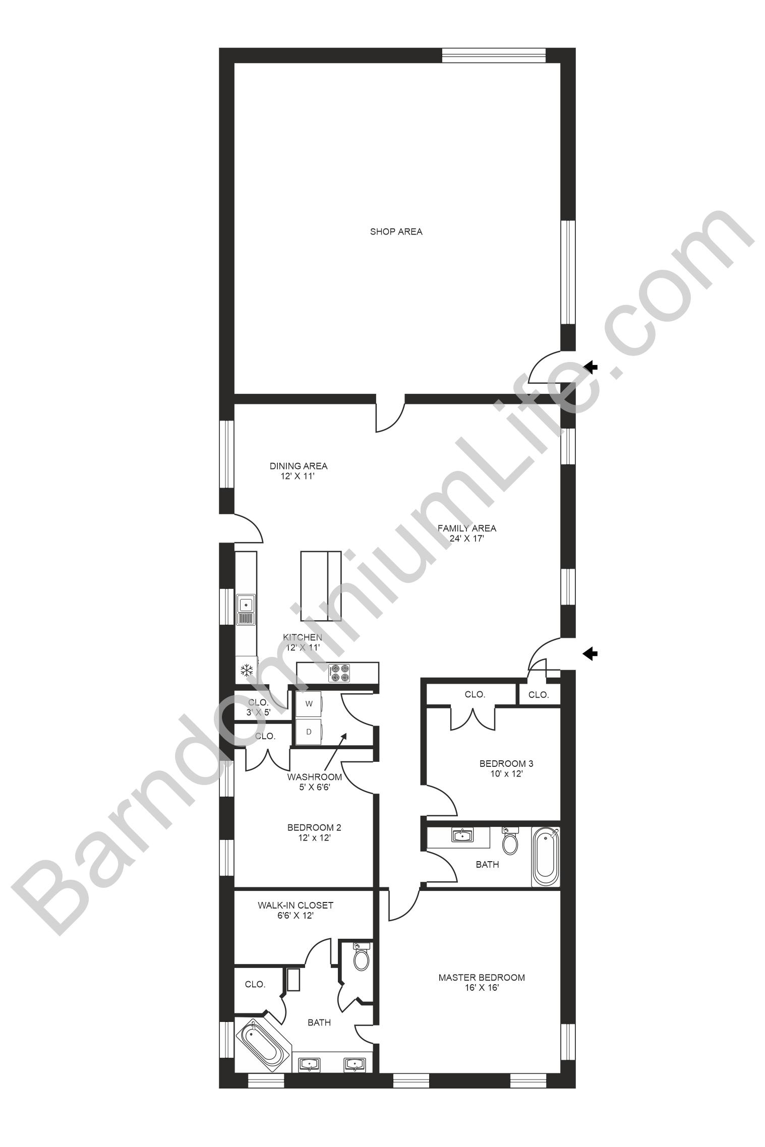 barndominium floor plan with shop