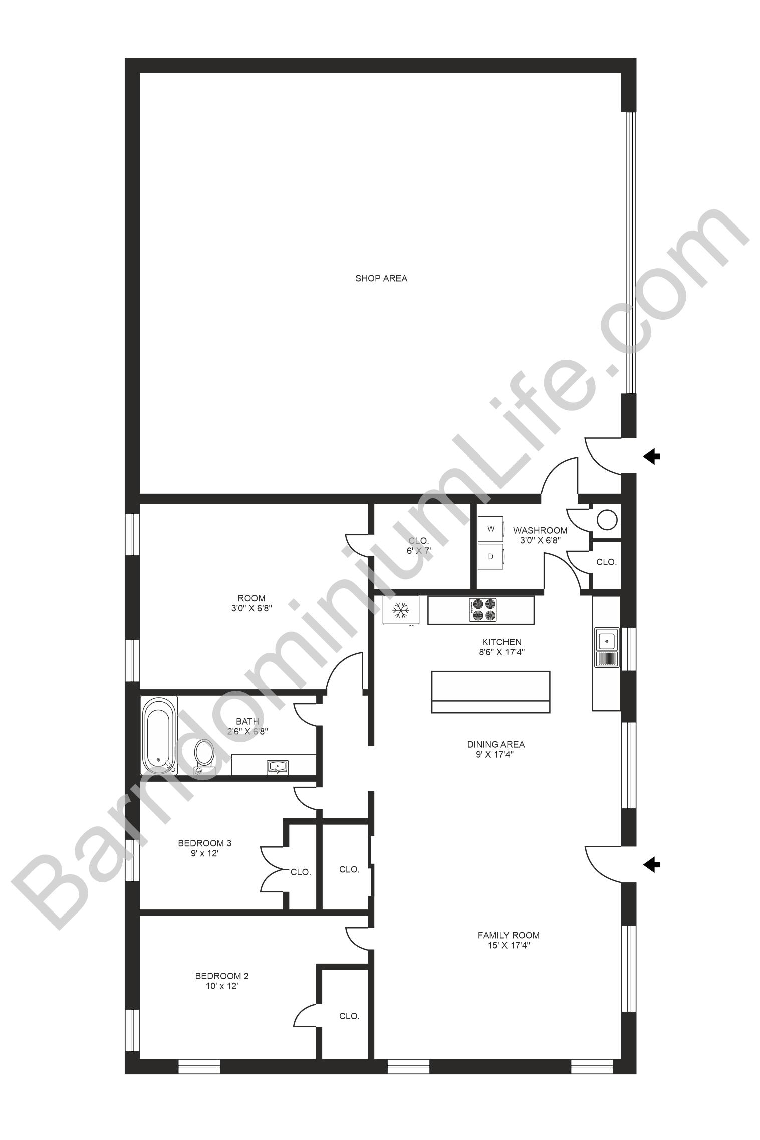 40x53 barndominium floor plan with shop