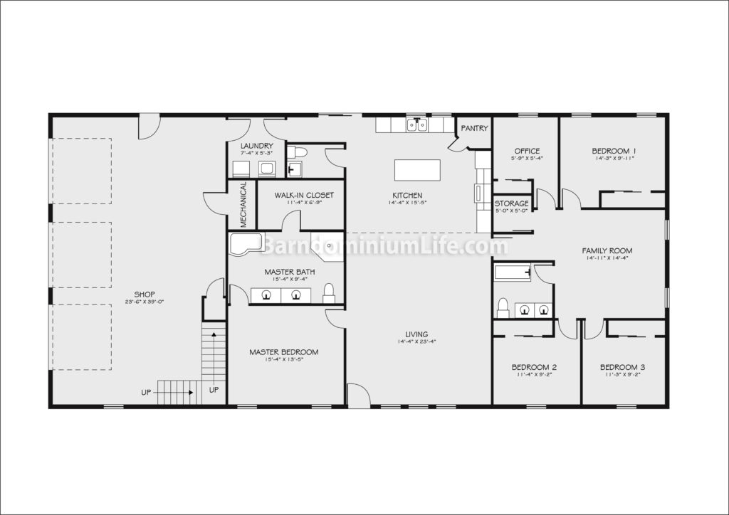40x60 barndominium floor plan with shop