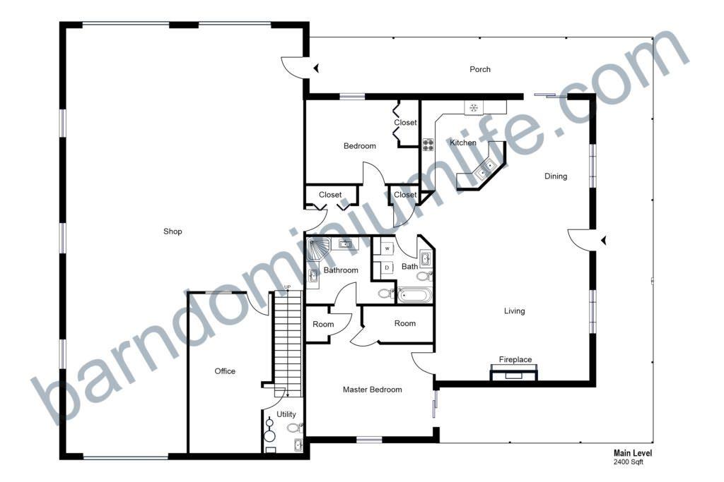 floor plan for 40x60 barndominium with shop