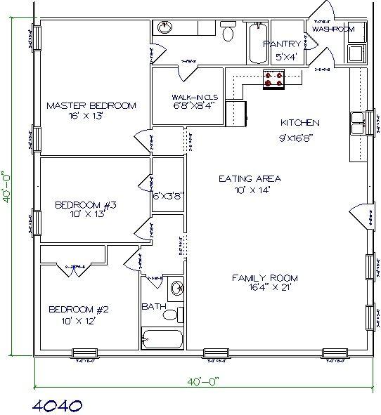 40x40 barndominium floor plan