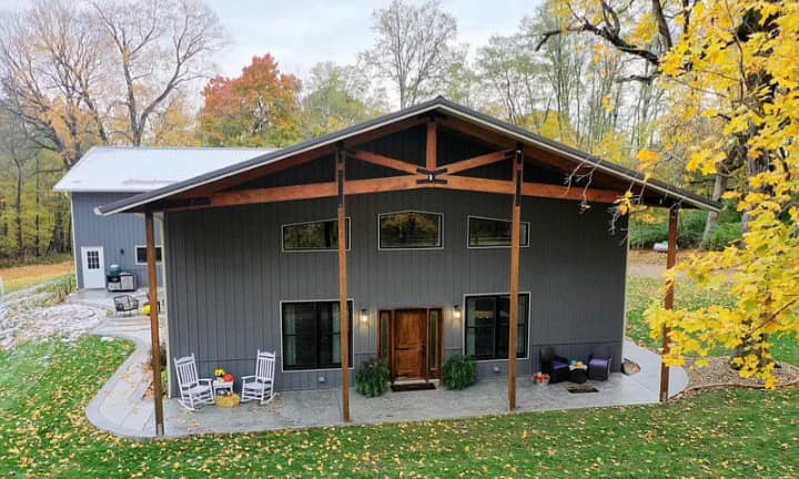 barndominium with loft - front porch