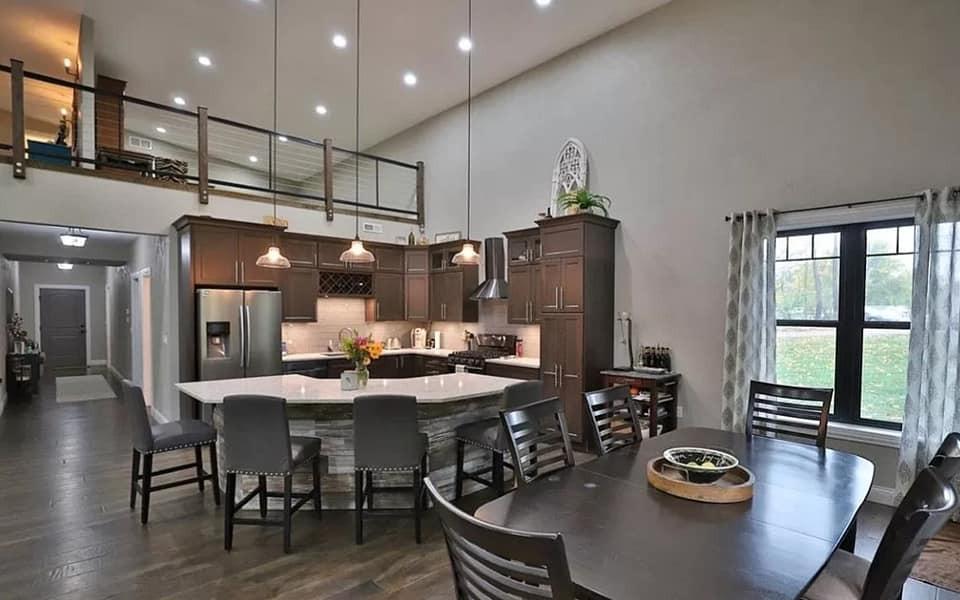barndominium kitchen and dining area