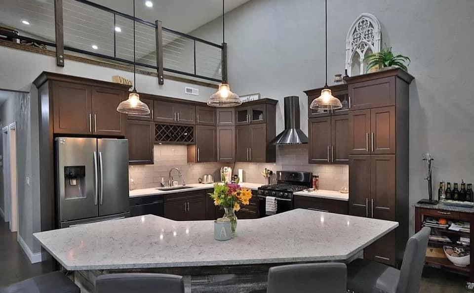 barndominium island and kitchen