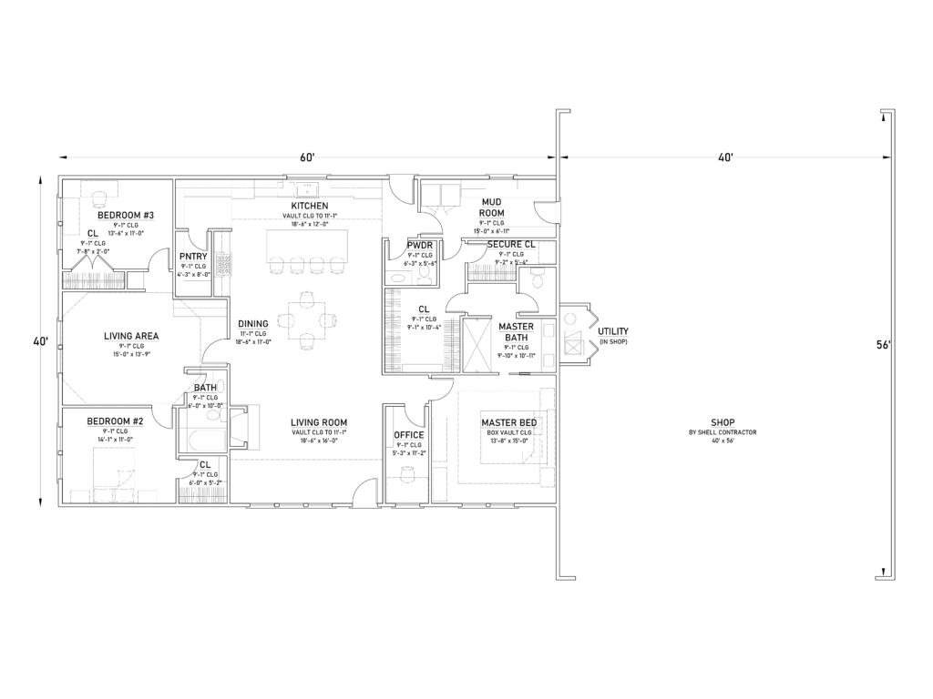 Barndominium Floor Plan with RV Garage