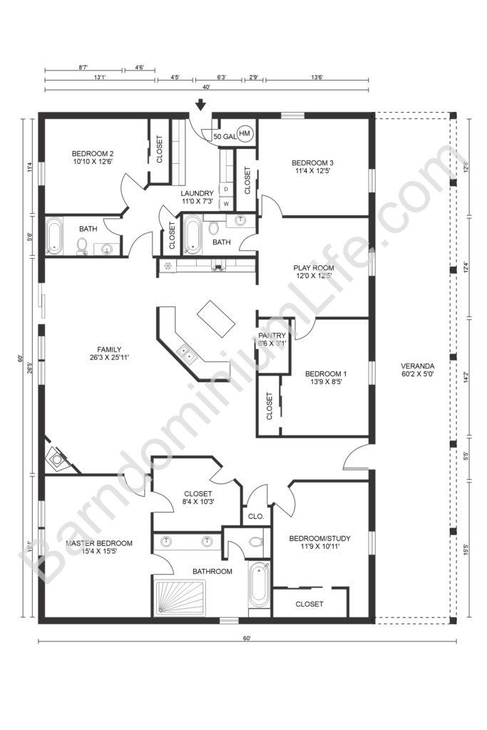 open concept barndominium floor plan with veranda