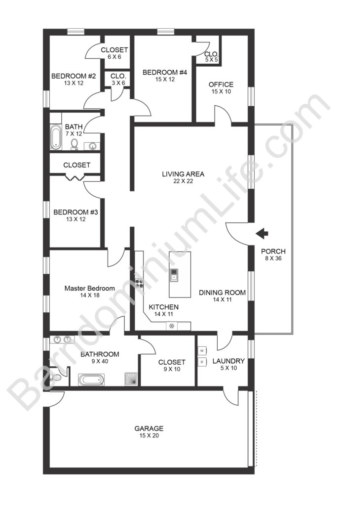 4 bedroom barndominium floor plans with shop