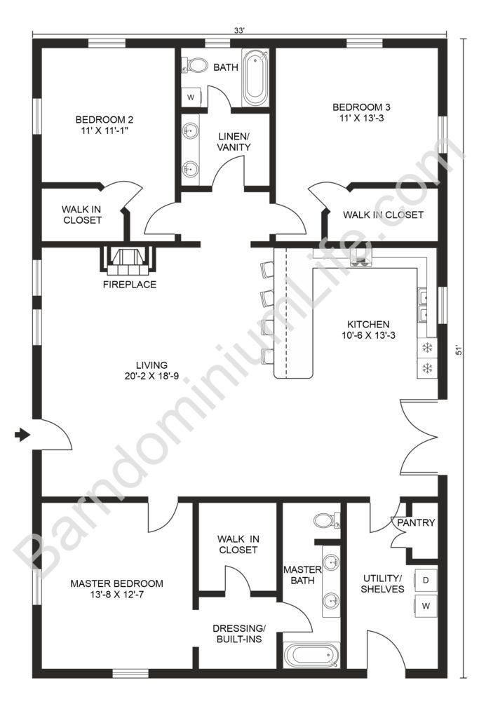 open concept barndominium floor plans with 3 bedrooms