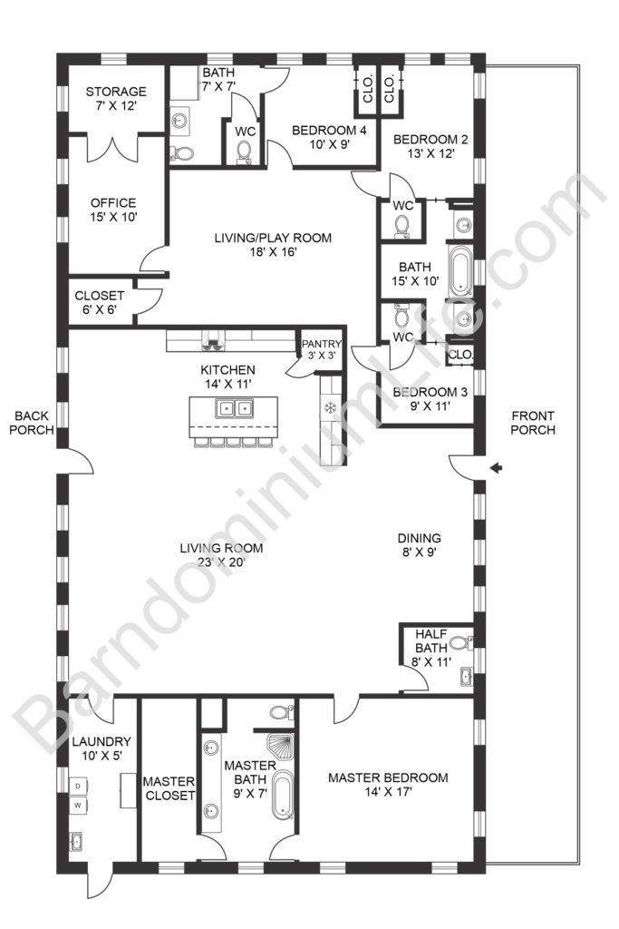 Open Concept Barndominium Floor Plans