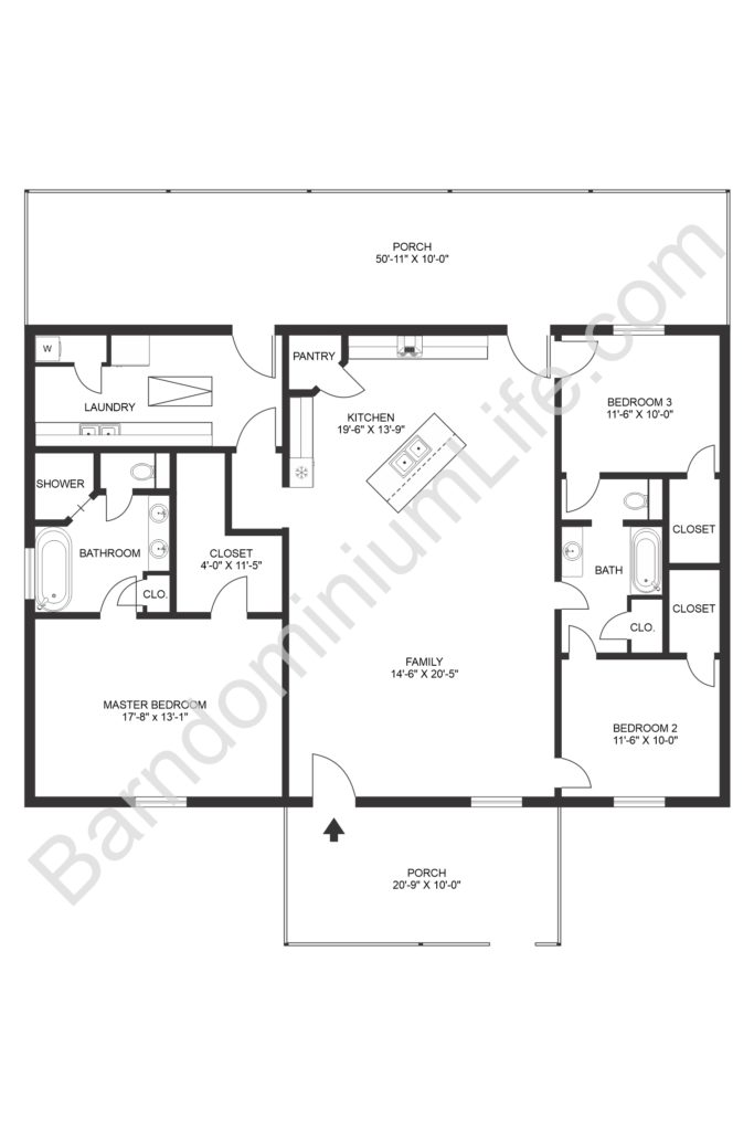open concept barndominium floor plan with front and back porch