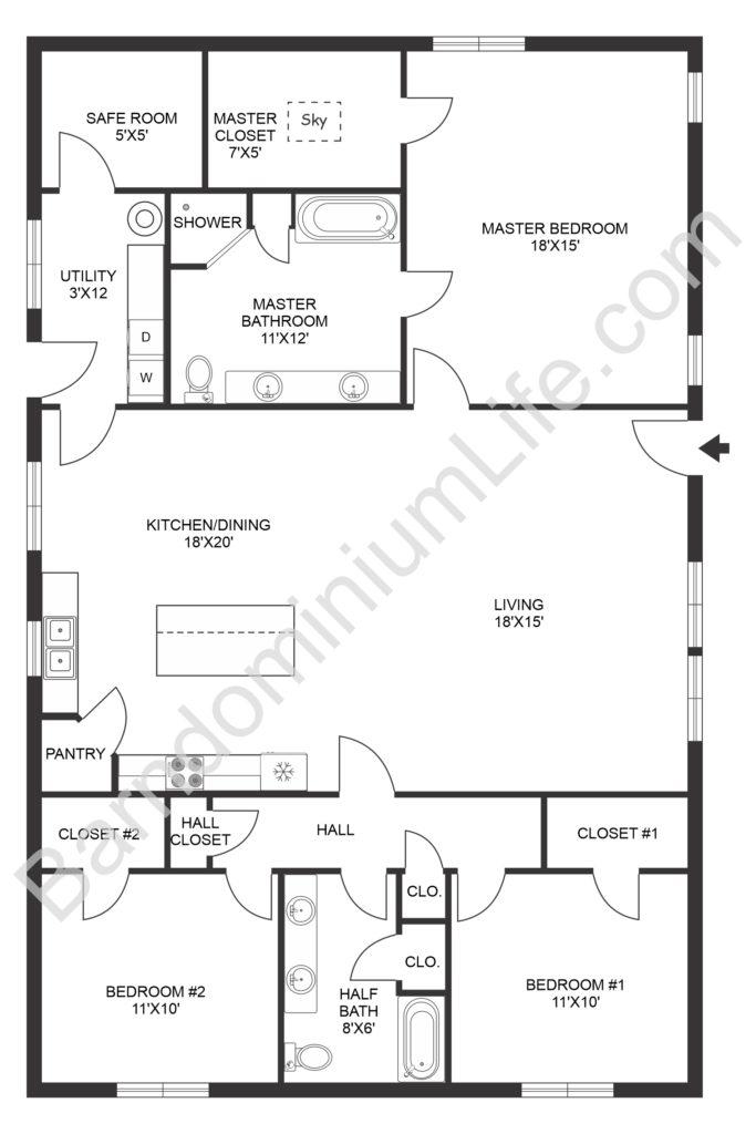open concept barndominium floor plan with safe room