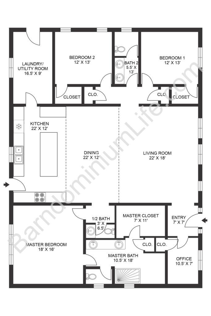 open concept barndominium floor plan with dining room