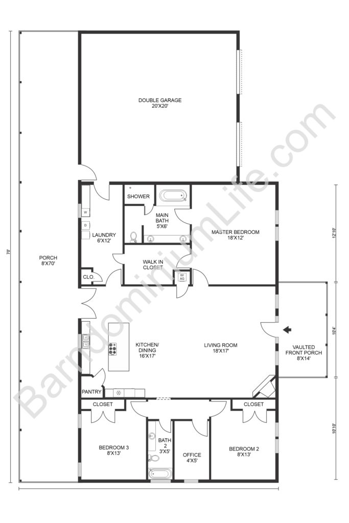 open concept barndominium floor plan with double garage