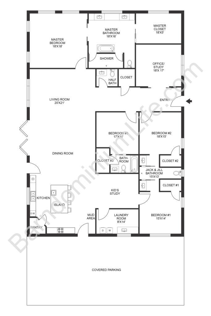 open concept barndominium floor plan with kid's room