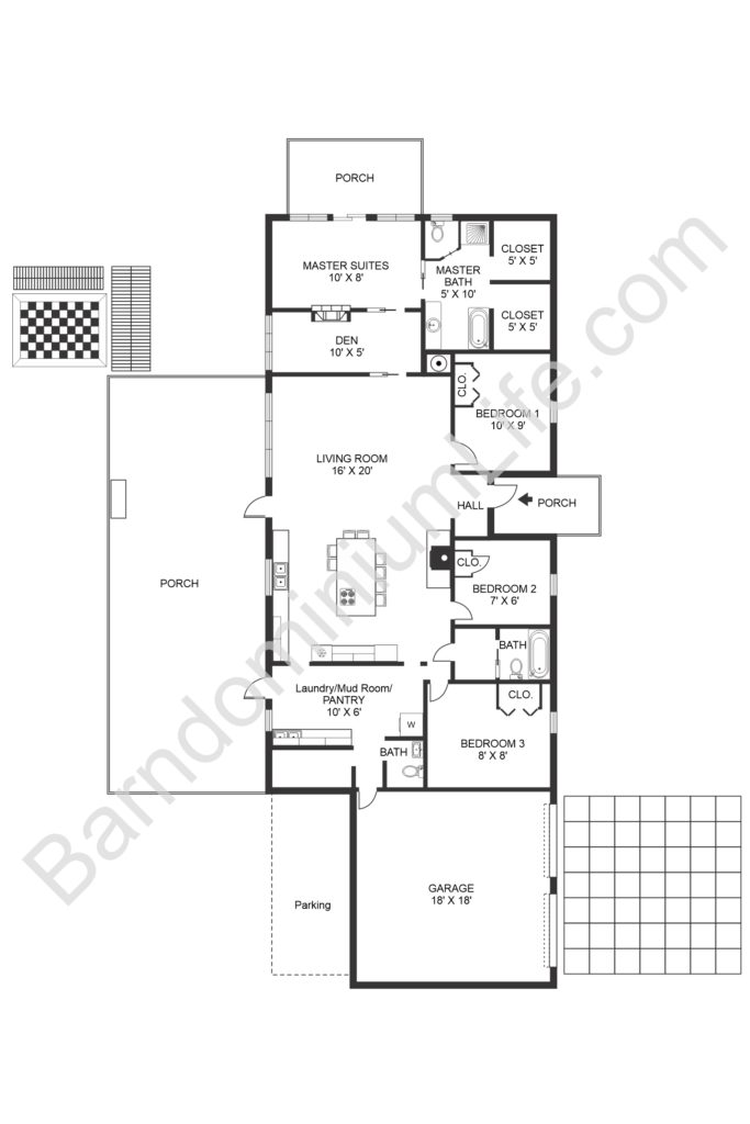 4 bedroom barndominium floor plan with loft