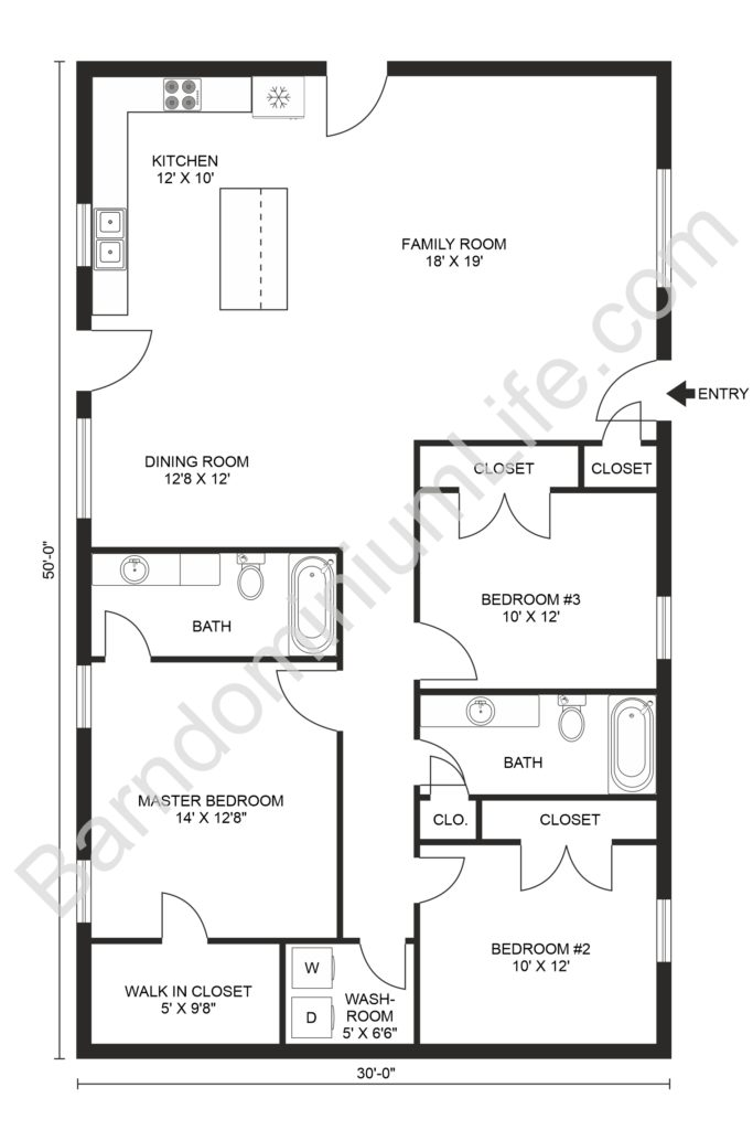 30x50 3 bedroom barndominium floor plan