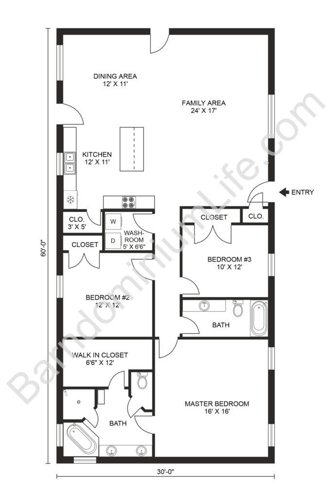 30x60 3 Bed 2 Bath Barndominium Floor Plan
