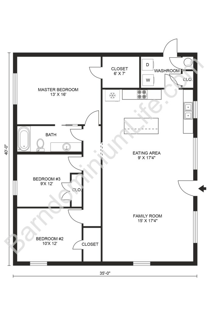 3 bedroom barndominium floor plan