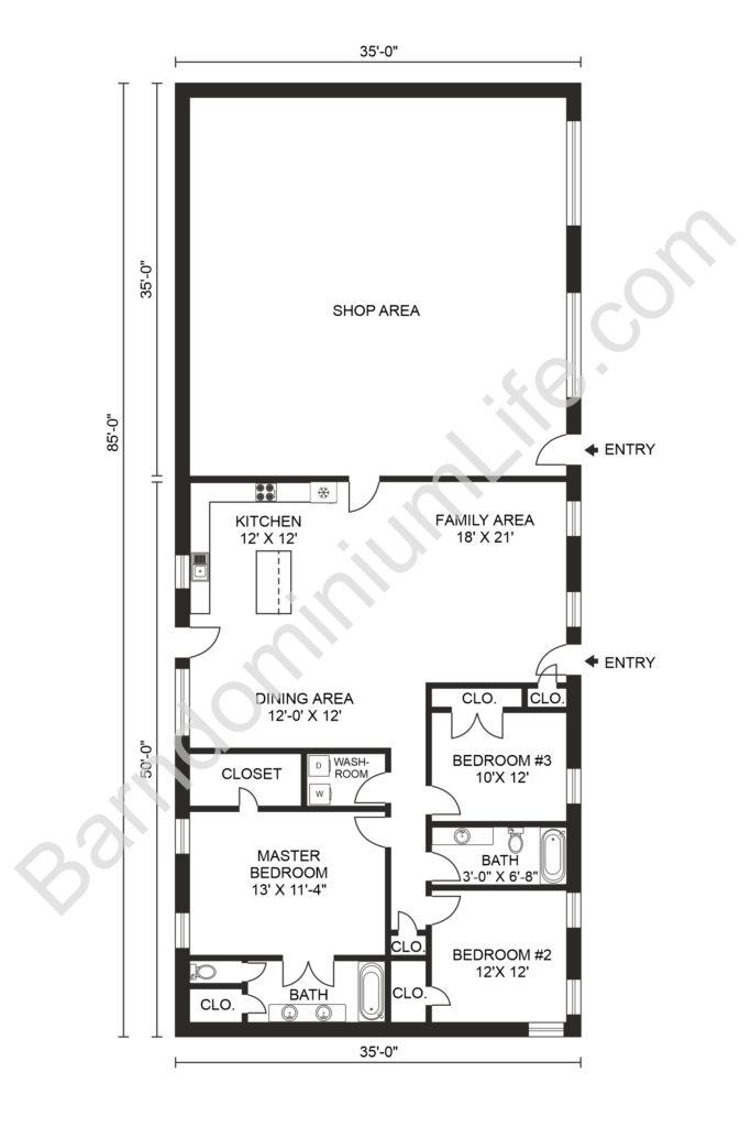35x50 3 bedroom barndominium with shop floor plan
