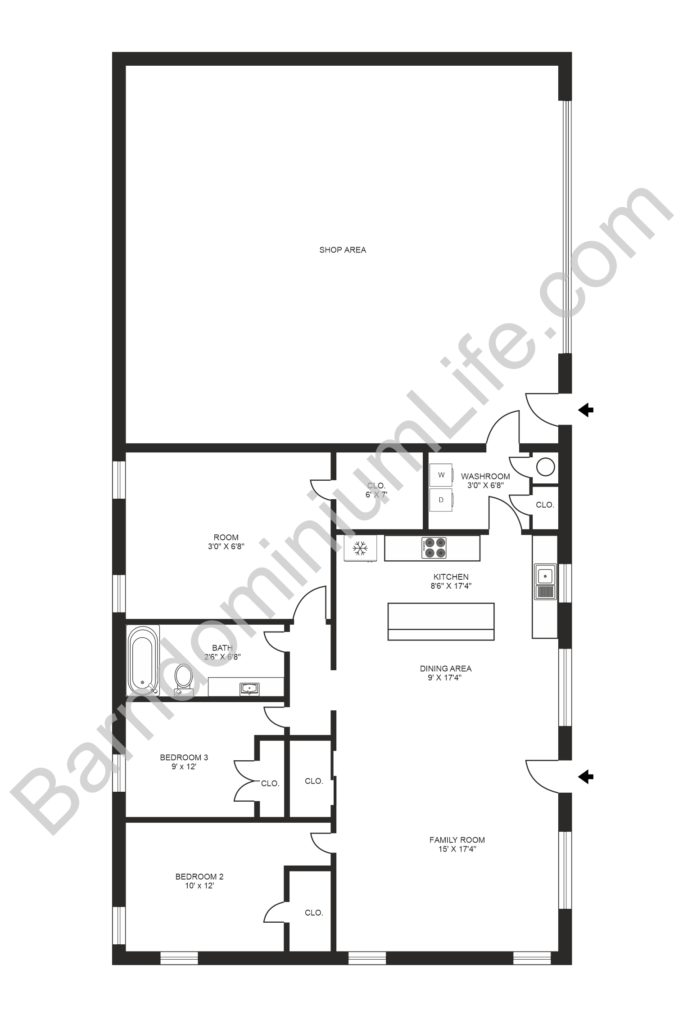 3 bedroom barndominium floor plan with shop