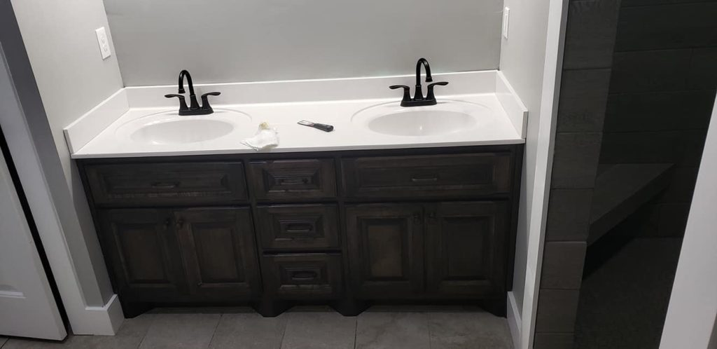 Carroll Family 3-Bed 2.5-Bath Tennessee Barndominium bath sink