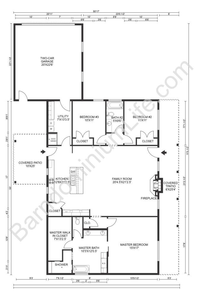 barndominium floor plan with garage and parking pad
