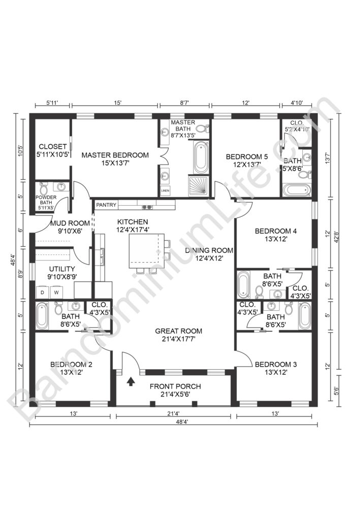 five bedroom barndominium floor plan with front porch