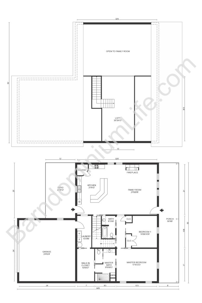 barndominium floor plan with standalone loft