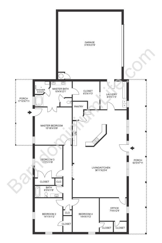 4 bedroom barndominium floor plan with large garage