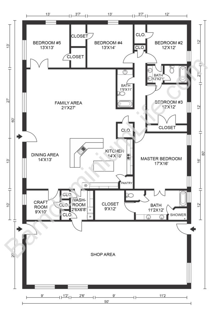 five bedroom barndominium floor plan with workshop