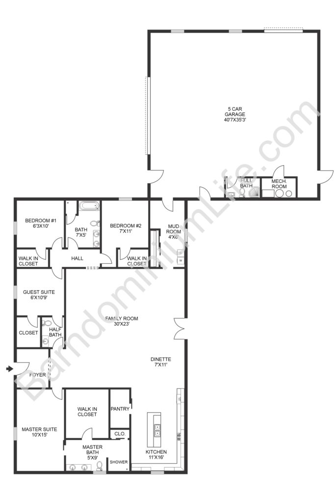 barndominium floor plan with garage and separate bathroom