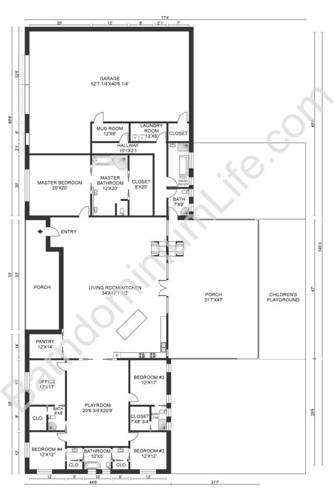 five bedroom barndominium floor plan with playroom
