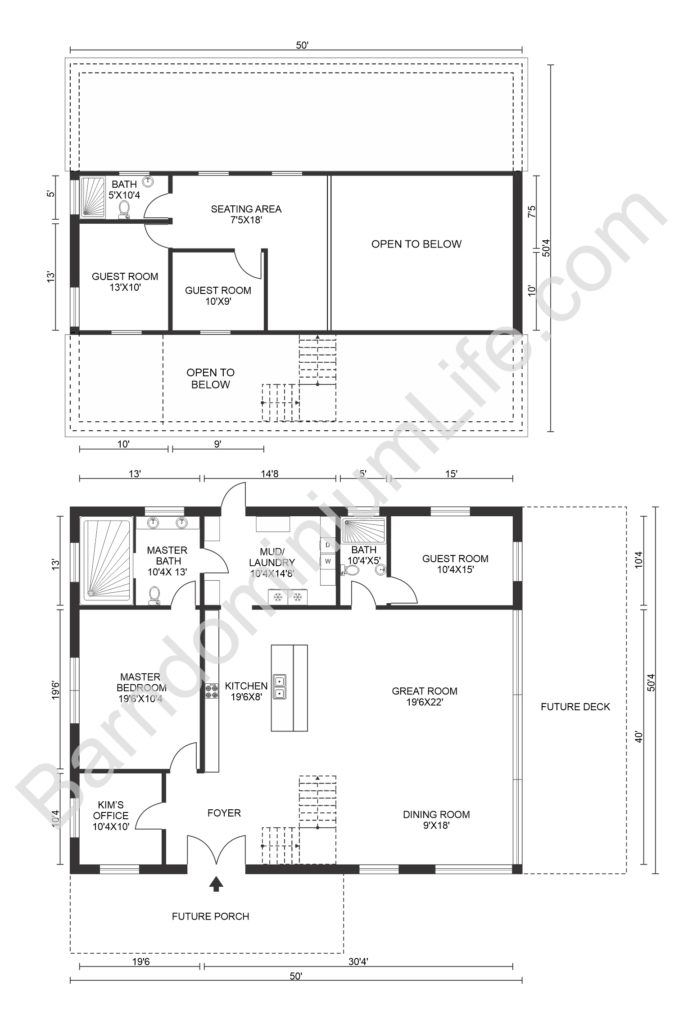 four bedroom barndominium floor plan with loft