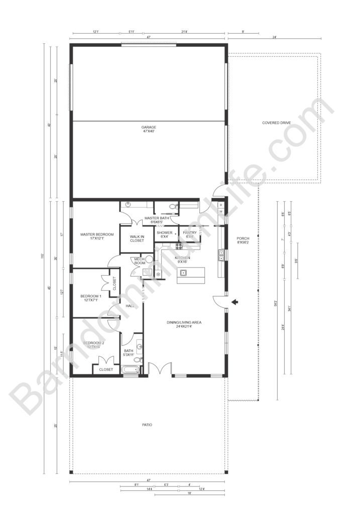 barndominium floor plan with garage and covered drive