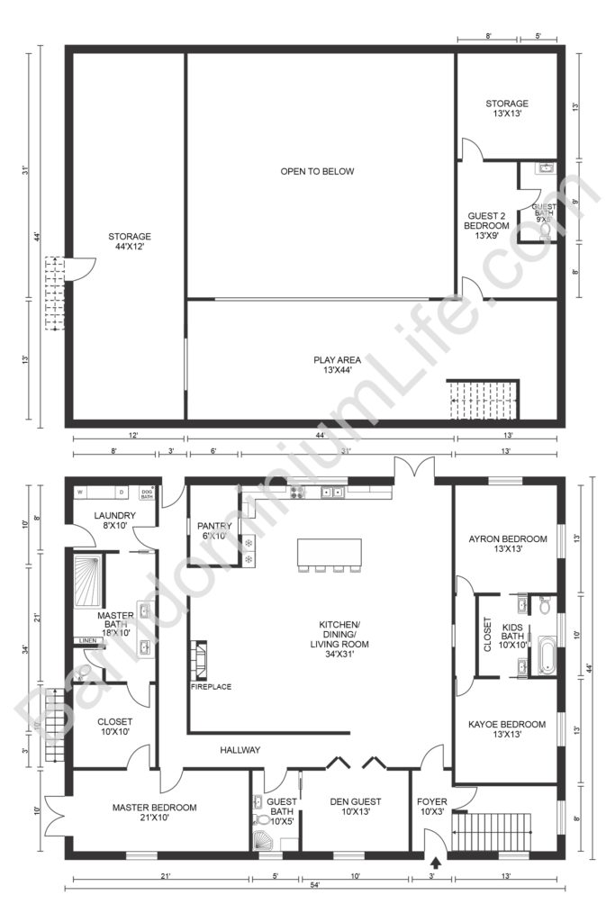 four bedroom loft barndominium floor plan with playroom