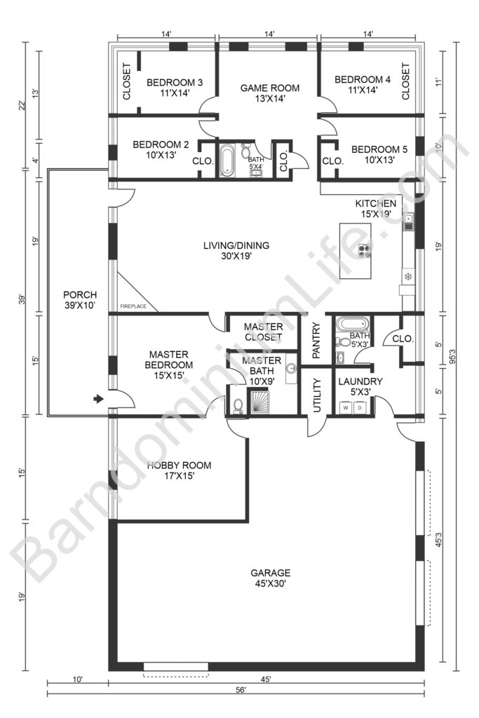 5 five bedroom barndominium floor plan with garage