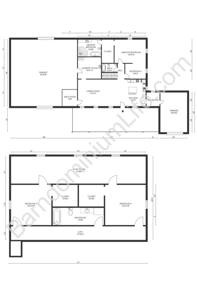 three bedroom loft barndominium floor plan with playroom