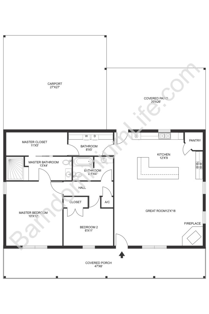 arndominium floor plan with large garage and covered patio