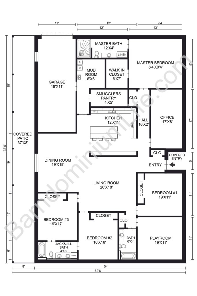 five bedroom barndominium floor plan with covered patio