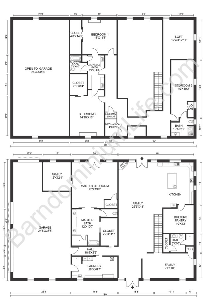 four bedroom loft barndominium floor plan with garage