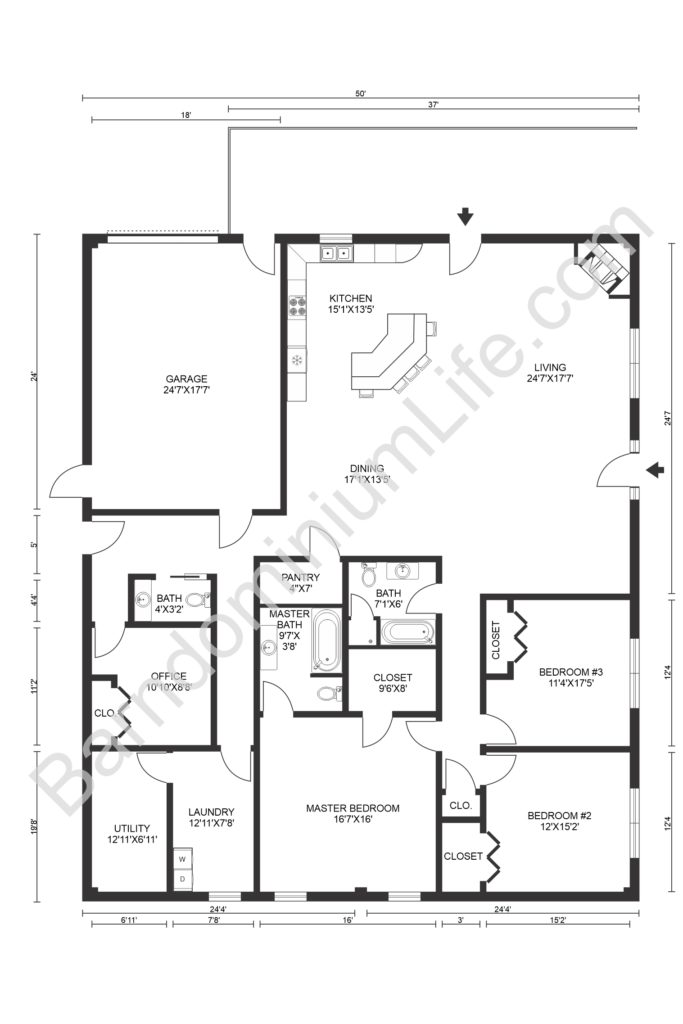 barndominium floor plan with large garage