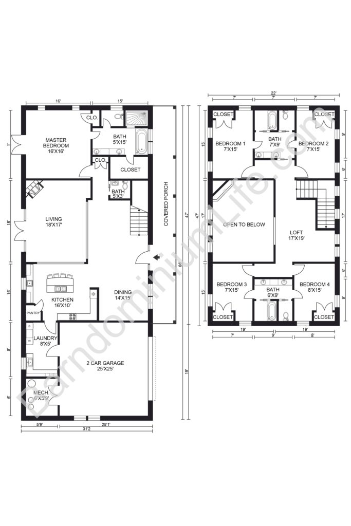five bedroom barndominium floor plan with loft