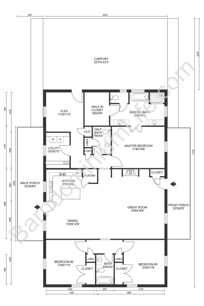 barndominium floor plans with garage and utility rooms