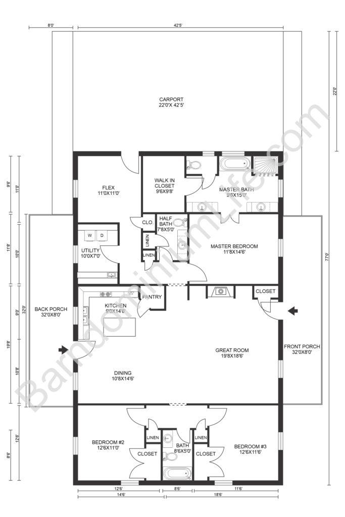 barndominium floor plans with garage and utility rooms