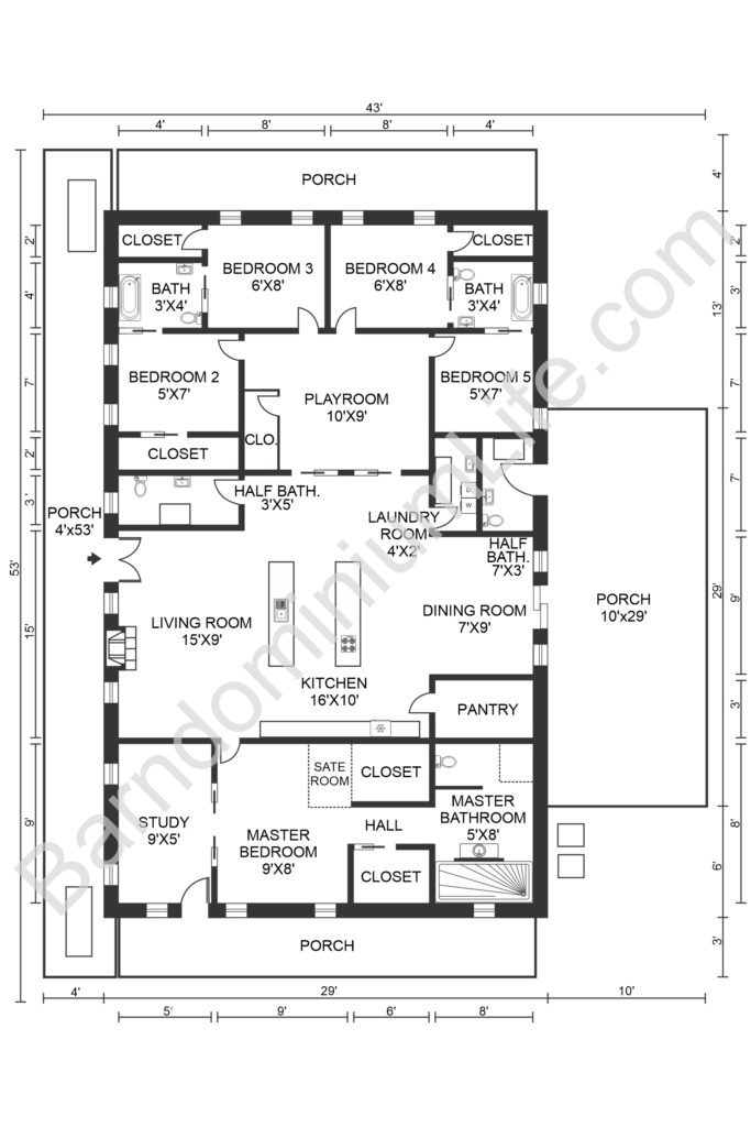 5 bedroom barndominium floor plan with playroom