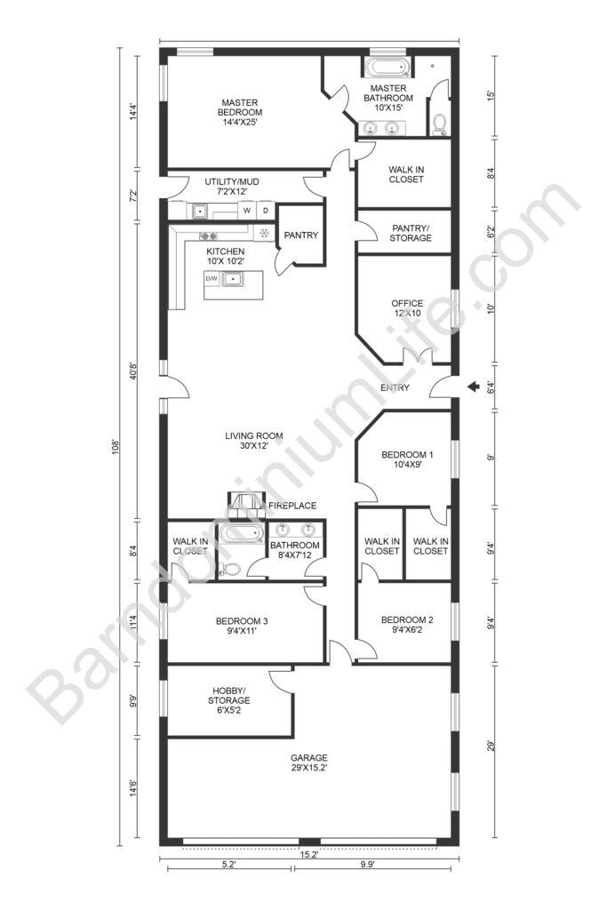 barndominium floor plans with garage and extra storage