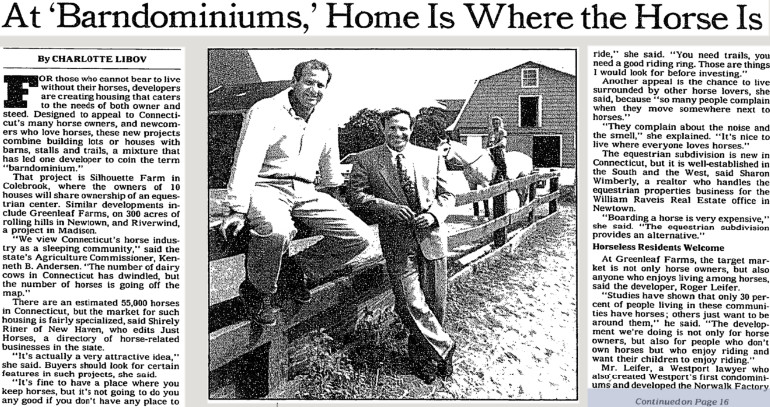 the very first mention of what is a barndominium in the NY Times
