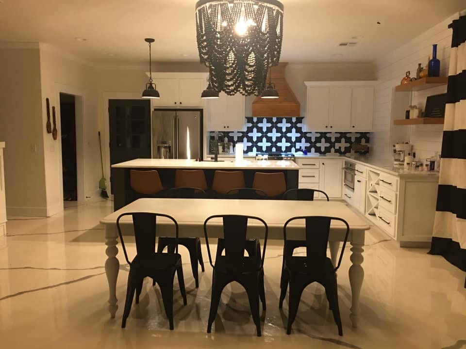 Black and White Oklahoma Barndominium kitchen chandelier