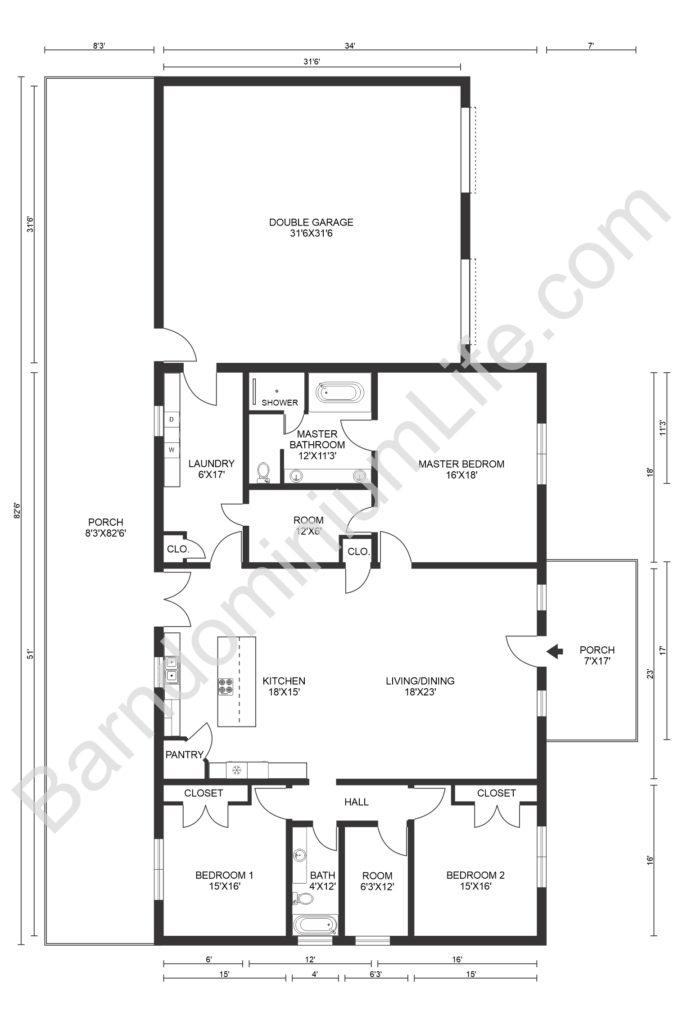 hines family barndominium floor plan
